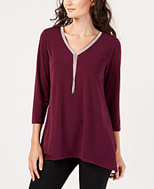 JM Collection Beaded V-Neck Tunic, Created for Macy's