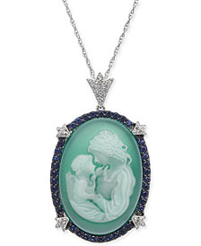 "Green Agate, Sapphire (1/2 ct. t.w.) & Diamond (1/10 ct. t.w.) Mother & Child Cameo 18"" Pendant Necklace in Sterling Silver"