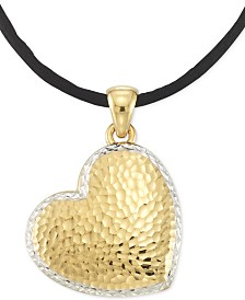 "Signature Gold™ Textured Reversible Silk Cord Heart 18"" Pendant Necklace in 14k Gold over Resin Core"