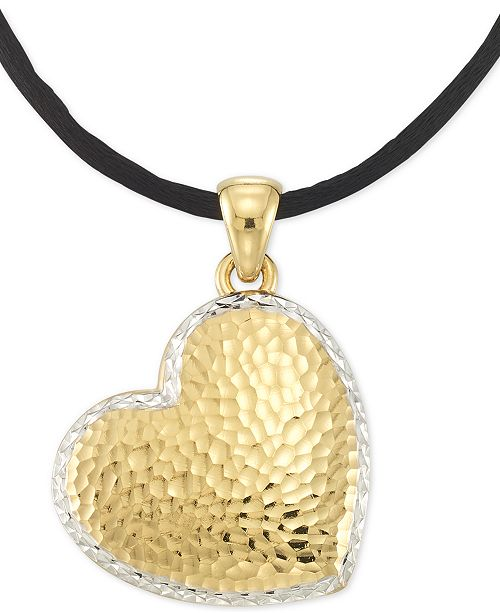 """Signature Gold Textured Reversible Silk Cord Heart 18"""" Pendant Necklace in 14k Gold over Resin Core"""