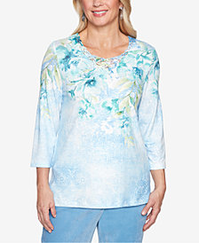 Alfred Dunner Petite Simply Irresistible Embellished Floral Print Top