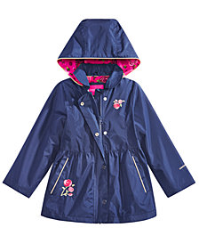 London Fog Little Girls Embrodiered Hooded Trench Coat