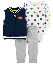 Carter's Baby Boys 3-Pc. Fleece Vest, Bodysuit & Jogger Pants Set