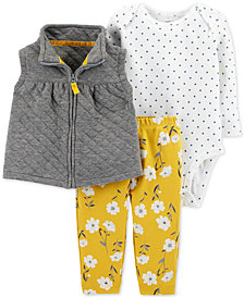Carter's Baby Girls 3-Pc. Vest, Bodysuit & Pants Set