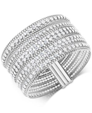 SWAROVSKI Stainless Steel Crystal Multi-Row Magnetic Bracelet in White