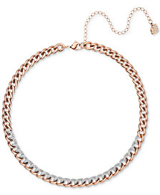 "Swarovski Rose Gold-Tone Crystal Link Choker Necklace, 13-2/5"" + 4"" extender"