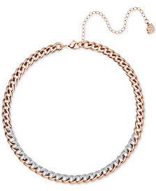 """Swarovski Rose Gold-Tone Crystal Link Choker Necklace, 13-2/5"""" + 4"""" extender"""
