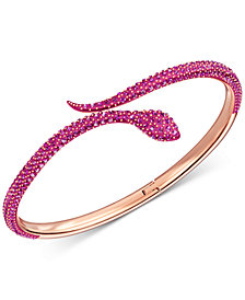 Swarovski Rose Gold-Tone Pavé Snake Bangle Bracelet