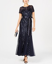 Sequin-Embellished Pleated Gown