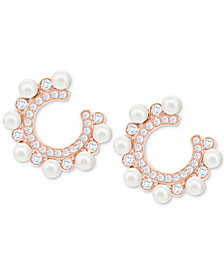 "Swarovski Rose Gold-Tone Crystal & Imitation Pearl 3/4"" Hoop Earrings"