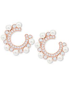 Swarovski Rose Gold-Tone Crystal & Imitation Pearl Hoop Earrings