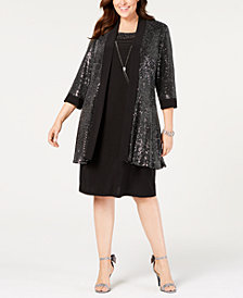 R & M Richards Plus Size Embellished Jacket & Shift Dress