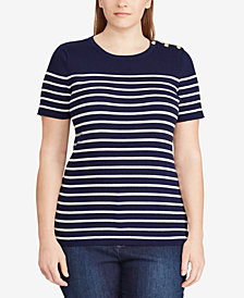 Lauren Ralph Lauren Plus Size Short-Sleeve Striped Sweater