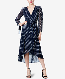 Betsey Johnson Polka Dot Wrap A-Line Dress