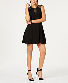 GUESS Embellished-Mesh Scuba Crepe Dress