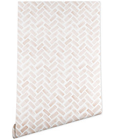 Deny Designs Little Arrow Design Co Arcadia Herringbone in Blush Wallpaper