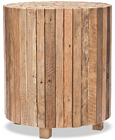 Richmond Rustic Wood Block Round End Table, Quick Ship