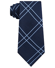 DKNY Men's Linear Plaid Slim Silk Tie