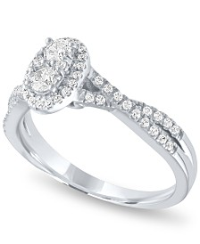 Diamond Oval Halo Ring (1/2 ct. t.w.) in 14k White Gold