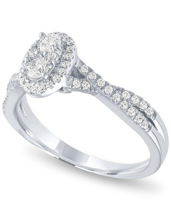 Macy's Diamond Oval Halo Ring (1/2 ct. t.w.) in 14k White Gold