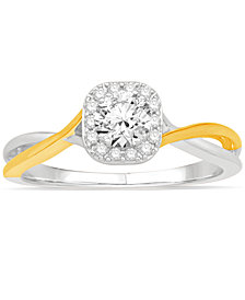 Diamond Two-Tone Halo Engagement Ring (1/2 ct. t.w.) in 14k Gold and White Gold