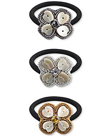 Deepa Tri-Tone 3-Pc. Set Crystal & Stone Shamrock Ponytail Holders