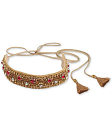 Deepa Gold-Tone Crystal & Bead Hair Tie Wrap