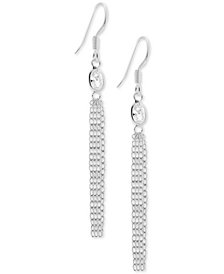 Essentials Cubic Zirconia Dangle Chain Drop Earrings in Fine Silver-Plate