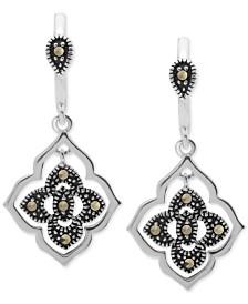 Marcasite Flower Drop Earrings in Fine Silver Plate