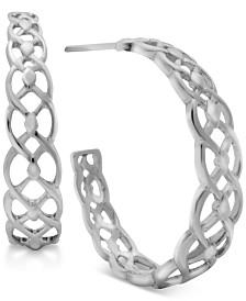 Essentials Filigree C-Hoop Earrings in Fine Silver-Plate or Gold-Plate