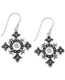 Marcasite Celtic Cross Drop Earrings in Fine Silver-Plate