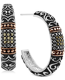 Marcasite Two-Tone Scroll Design Hoop Earrings