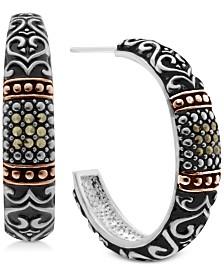 Marcasite Two-Tone Scroll Design Hoop Earrings