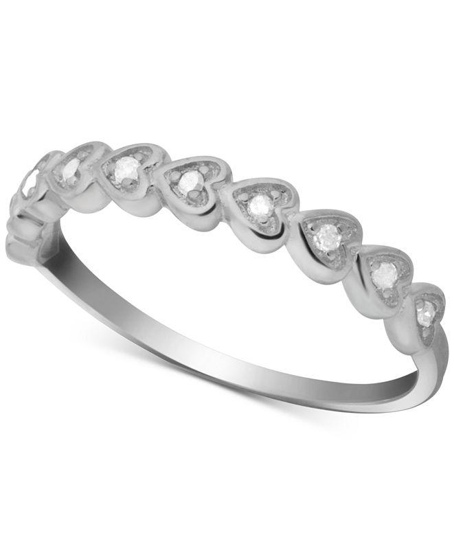 Macy's Diamond Heart Ring (1/10 ct. t.w.) in Sterling Silver