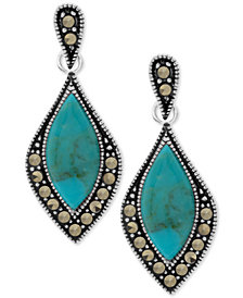 Marcasite & Stone Drop Earrings in Fine Silver-Plate