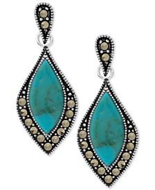 Marcasite & Stone Drop Earrings in Fine Silver-Plate