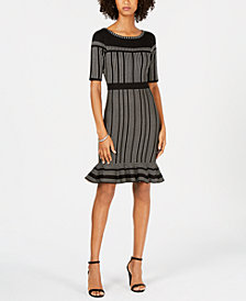 Taylor Striped Flounce-Hem Sweater Dress