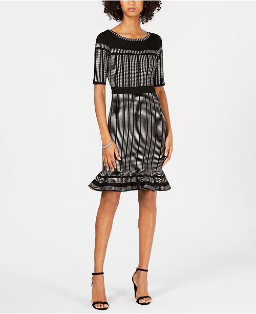 5227eda470 Taylor Striped Flounce-Hem Sweater Dress   Reviews - Dresses - Women ...
