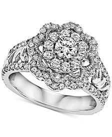 Diamond Floral Engagement Ring (1 ct. t.w.) in 14k White Gold