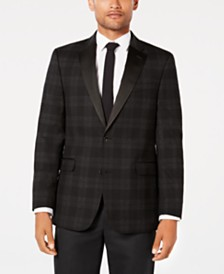 Tommy Hilfiger Men's Modern-Fit TH Flex Stretch Charcoal/Black Tartan Dinner Jacket