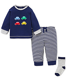 Little Me Baby Boys 2-Pc. Car Graphic Cotton Shirt & Joggers Set With Socks