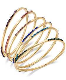 I.N.C. Gold-Tone 6-Pc. Set Crystal Pavé Bangle Bracelets, Created for Macy's