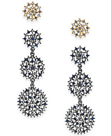 I.N.C. Day & Night Two-Tone 2-Pc. Box Set Coordinated Multi-Stone Openwork Stud and Drop Earrings, Created for Macy's