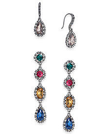 I.N.C. Day & Night Hematite-Tone 2-Pc. Set Coordinated Multi-Stone Halo Drop Earrings, Created for Macy's