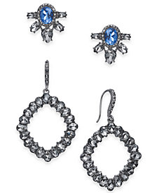 I.N.C. Day & Night Hematite-Tone 2-Pc. Set Coordinated Multi-Stone Cluster Stud Earrings and Geometric Drop Earrings, Created for Macy's
