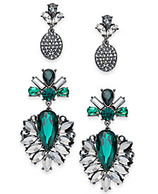 I.N.C. Day & Night Hematite-Tone 2-Pc. Box Set Coordinated Crystal & Stone Drop Earrings, Created for Macy's