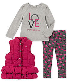 Calvin Klein Little Girls 3-Pc. Vest, T-Shirt & Leggings Set