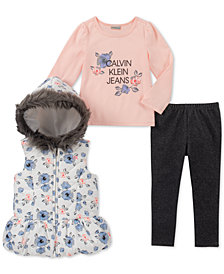 Calvin Klein Little Girls 3-Pc. Hooded Vest, T-Shirt & Denim Leggings Set