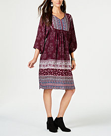 Style & Co Printed Babydoll Dress, Created for Macy's