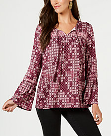 Style & Co Printed Embroidered Peasant Blouse, Created for Macy's
